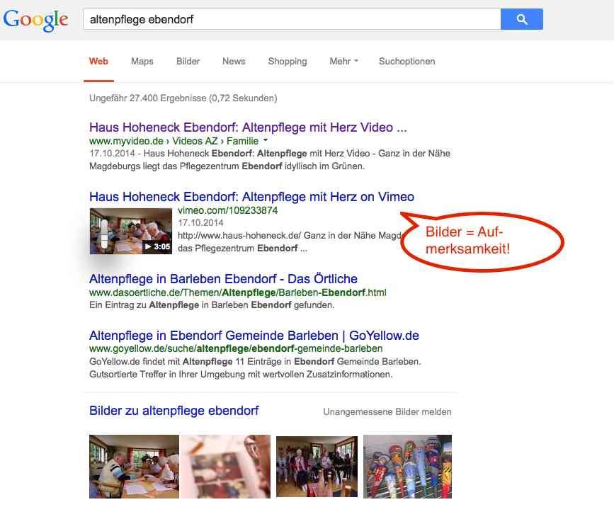 Googleergebnisse mit Video